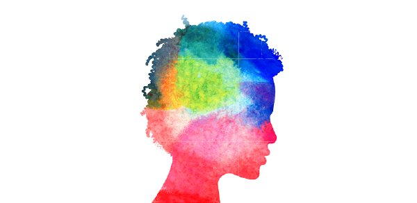 Painting of a person in profile make up of multiple colors