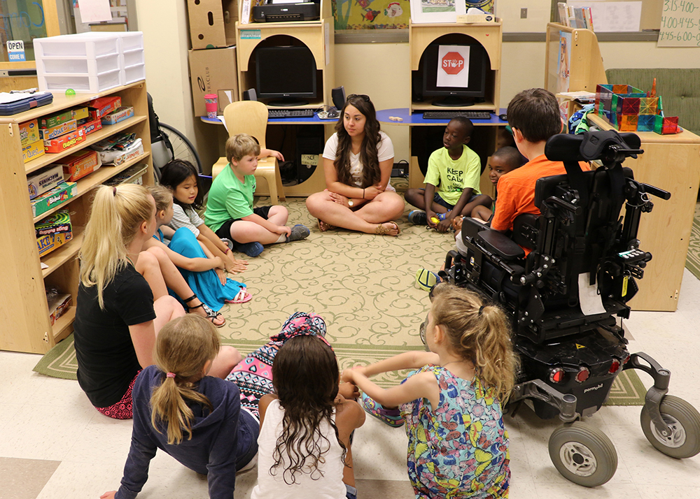 Teacher teaching in an inclusive classroom